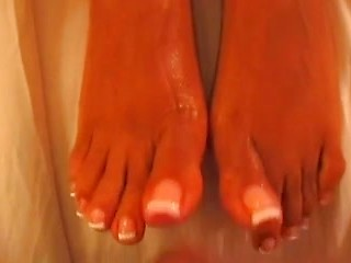 Erotic ebony POV footjob from girl with a...