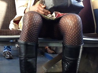 Amateur upskirt video with black girl in...