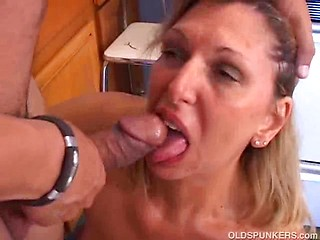 Beautiful older babe sucks and fucks a lucky...
