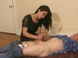 British brunette amateur wife tugs big cock...